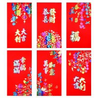 Coopay 36 Pieces Chinese New Year Red Envelopes Hong Bao 2019 Year of The Pig Lucky Money Envelope Festival Money Packets, 6 Designs, 6.5 x 3.5 Inches (LW) (Red-2)