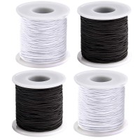 Coopay 4 Roll 0.8 mm Elastic String Cord Elastic Thread Beading String Cord for Jewelry Making Bracelets Beading, White and Black (200 m)